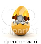 Clipart Illustration Of A White Character Peeking Out From Inside Of A Cracked Golden Easter Egg