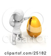 Clipart Illustration Of A White Character Trying To Budge A Big Gold Easter Egg