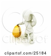Clipart Illustration Of A White Character Scratching His Head And Trying To Figure Out How To Move A Large Golden Easter Egg