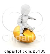 Clipart Illustration Of A Silly White Character Sitting On Top Of A Large Golden Easter Egg