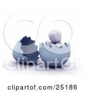 Clipart Illustration Of A Relaxed White Character Sitting In A Broken Blue Easter Egg