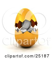 Clipart Illustration Of A White Character Hatching Out From A Cracked Gold Easter Egg