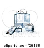 Wrapped Christmas Presents In Boxes In Front Of A Matching Gift Bag With Four Snowflake Scenes