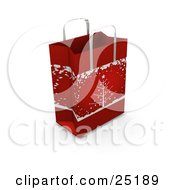 Red Christmas Gift Bag With A Christmas Tree In The Snow Scene