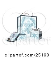 Wrapped Christmas Presents In Boxes In Front Of A Matching Gift Bag With A Snowflake Scene