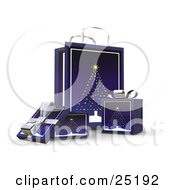 Clipart Illustration Of Wrapped Christmas Presents In Boxes In Front Of A Matching Gift Bag With A Christmas Tree Scene
