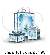 Clipart Illustration Of Wrapped Christmas Presents In Boxes In Front Of A Matching Gift Bag With Trees And Snow
