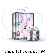 Clipart Illustration Of A Wrapped Christmas Present In A Box In Front Of A Matching Gift Bag With An Ornament Design