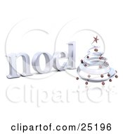 Clipart Illustration Of A Chrome Spiral Christmas Tree With Red Ornaments And A Star In Front Of A Noel Greeting Over White