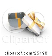 Clipart Illustration Of An Opened Christmas Gift Wrapped In Silver Paper With A Gold Ribbon And Bow