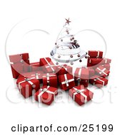 Clipart Illustration Of A Silver Spiraled Christmas Tree With Red Ornaments Over Silver And Red Christmas Gifts