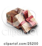 Clipart Illustration Of An Opened Christmas Gift Wrapped In Gold Christmas Greeting Paper With A Red Ribbon And Bow