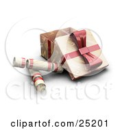 Clipart Illustration Of Three Opened Christmas Presents Wrapped In Gold Christmas Greeting Paper With A Red Ribbons And Bows