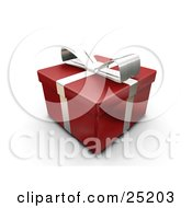 Clipart Illustration Of An Unopened Christmas Gift Wrapped In Red Paper With A Silver Ribbon And Bow