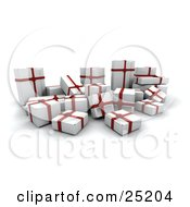 Clipart Illustration Of A Crowd Of Christmas Presents Wrapped In White Paper And Red Bows And Ribbons