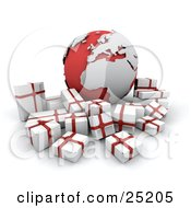 Clipart Illustration Of A Crowd Of White And Red Christmas Presents Surrounding A Red And Silver Globe With The African And European Continents