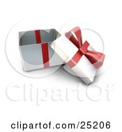 Clipart Illustration Of An Opened Christmas Gift Wrapped In Silver Paper With A Red Ribbon And Bow