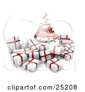 Clipart Illustration Of A Pink Spiraled Christmas Tree With Golden Ornaments Over White And Red Christmas Gifts