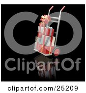 Clipart Illustration Of Stacks Of Red Gold And Silver Christmas Presents On A Dolly
