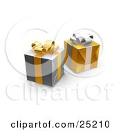 Clipart Illustration Of Two Unopened Christmas Gifts Wrapped In Silver And Gold Paper Ribbons And Bows