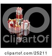 Clipart Illustration Of A Pile Of Christmas Presents Wrapped In Red Silver And Gold Paper Ribbons And Bows