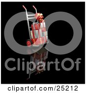 Clipart Illustration Of Hand Truck Moving Stacked Red Gold And Silver Christmas Presents