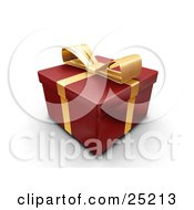 Clipart Illustration Of An Unopened Christmas Gift Wrapped In Red Paper With A Gold Ribbon And Bow