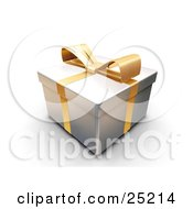 Clipart Illustration Of An Unopened Christmas Gift Wrapped In Silver Paper With A Yellow Ribbon And Bow