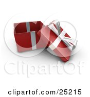 Clipart Illustration Of An Opened Christmas Gift Wrapped In Red Paper With A Silver Ribbon And Bow