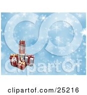 Clipart Illustration Of A Pile Of Christmas Presents Stacked Over A Blue And White Snowflake Background