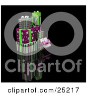 Clipart Illustration Of A Pile Of Christmas Presents Wrapped In Green Pink And Purple Paper Bows And Ribbons