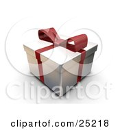 Clipart Illustration Of An Unopened Christmas Gift Wrapped In Silver Paper With A Red Ribbon And Bow