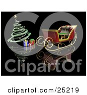 Clipart Illustration Of A Toy Sack In Santas Sleigh Near Christmas Presents Under A Green Spiral Christmas Tree With Golden Ornaments