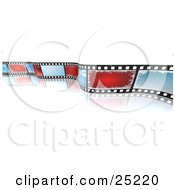 Clipart Illustration Of A Christmas Photo Filmstrip With Blue And Red Snowflake Spaces Curling Over A White Reflective Background by KJ Pargeter