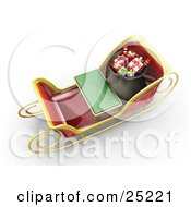 Clipart Illustration Of Santas Sleigh With A Green Bench And Full Bag Of Wrapped Christmas Gifts As Seen From Above by KJ Pargeter