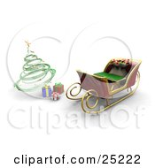 Santa Claus Sleigh With A Full Toy Sack Parked In Front Of A Green Spiral Christmas Tree With Presents