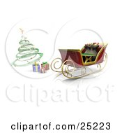 Wrapped Gifts Under A Green Spiral Christmas Tree By Santas Parked Sleigh