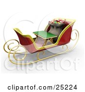 Clipart Illustration Of Santas Toy Sack Nestled Behind A Green Bench In His Christmas Sleigh by KJ Pargeter