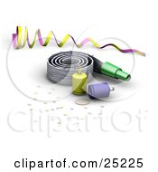 Clipart Illustration Of A Purple And Yellow Ribbon Noise Maker Party Poppers And Confetti At A New Year Or Birthday Party