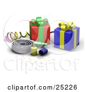 Clipart Illustration Of A Nosie Maker Confetti Party Poppers Ribbon And Wrapped Gifts At A Birthday Party