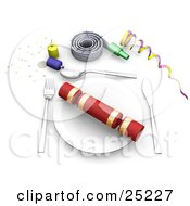 Gift On A Table Place Setting With Confetti Party Poppers Noise Makers And Ribbons At A Birthday Party