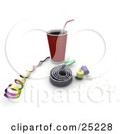 Clipart Illustration Of A Soda Ribbon Noise Maker Party Poppers And Confetti At A New Year Or Birthday Party