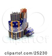 Clipart Illustration Of A Pile Of Christmas Presents Wrapped In Star Stripe And Plaid Blue And Orange Paper Ribbons And Bows