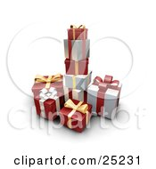 Clipart Illustration Of A Pile Of Christmas Presents Wrapped In Silver And Red Paper With Gold Silver And Red Bows And Ribbons by KJ Pargeter
