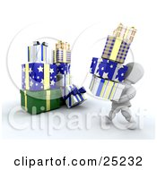 White Character Carrying A Stack Of Blue White And Yellow Christmas Presents Over To A Large Pile