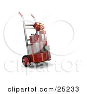 Clipart Illustration Of Piles Of Red Gold And Silver Christmas Presents On A Dolly by KJ Pargeter