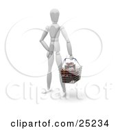Clipart Illustration Of A White Figure Character Standing In A Store Carrying A Shopping Basket Full Of Wrapped Christmas Gifts by KJ Pargeter