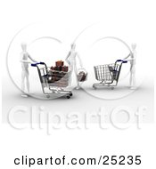Three White Figure Characters Shopping In A Store One Pushing An Empty Cart One With A Cart Full Of Christmas Presents The Other With A Basket Full Of Gifts