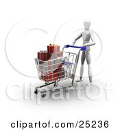 Clipart Illustration Of A White Figure Character Pushing A Shopping Cart In A Store Full Of Wrapped Red And Green Christmas Presents by KJ Pargeter