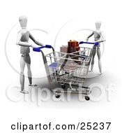 Two White Figure Characters Pushing Shopping Carts In A Store One Cart Full Of Wrapped Christmas Gifts